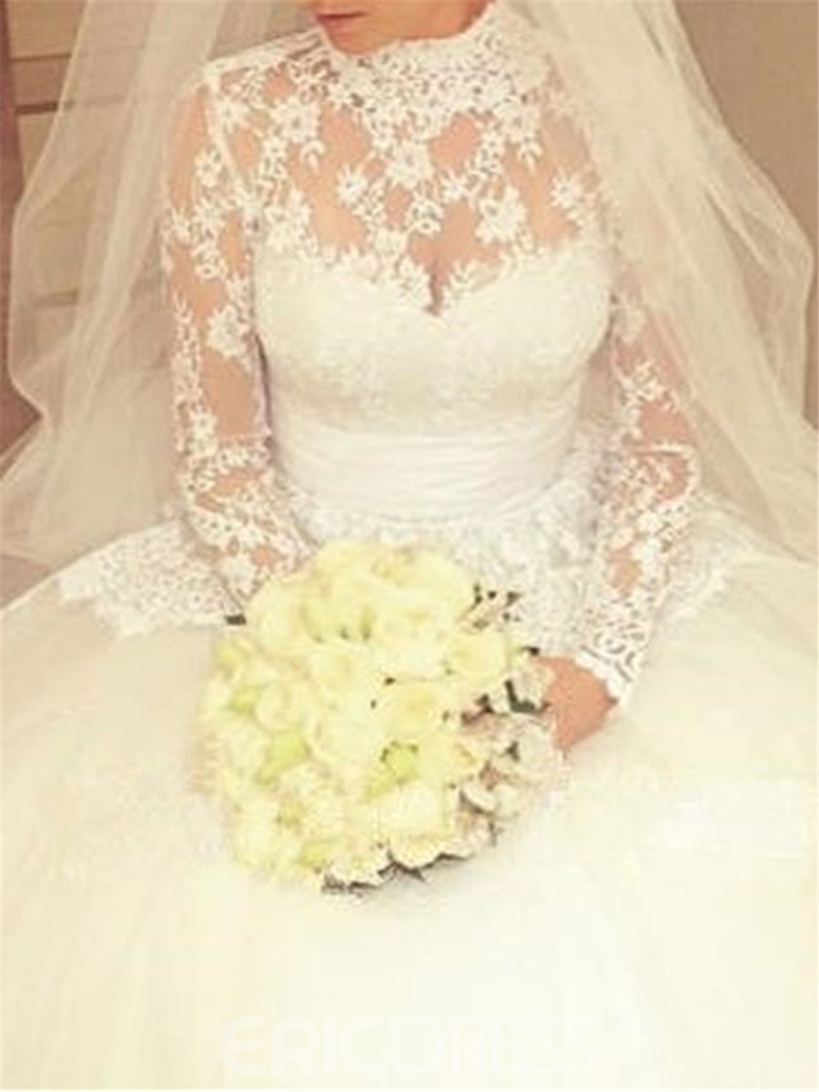 Ericdress High Neck Mesh Lace Long Sleeves Wedding Dress