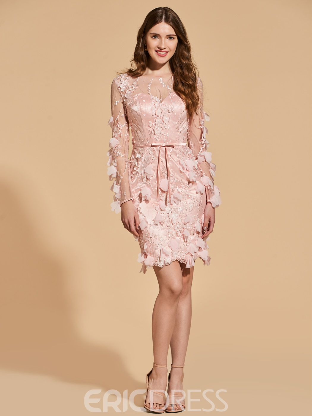 2bd8d98b2 Ericdress Sheath Long Sleeve 3D Floral Bodycon Homecoming Dress(13164055)