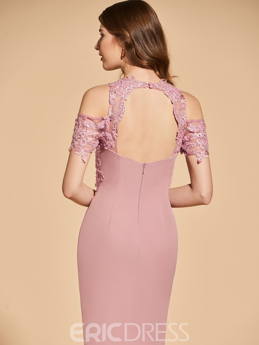 Ericdress Sheath Cold Shoulder Short Sleeve Bodycon Homecoming Dress With Applique