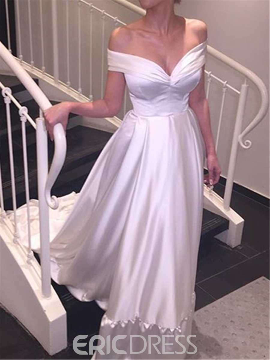 Ericdress Elegant A-Line Off The Shoulder Wedding Dress with Train