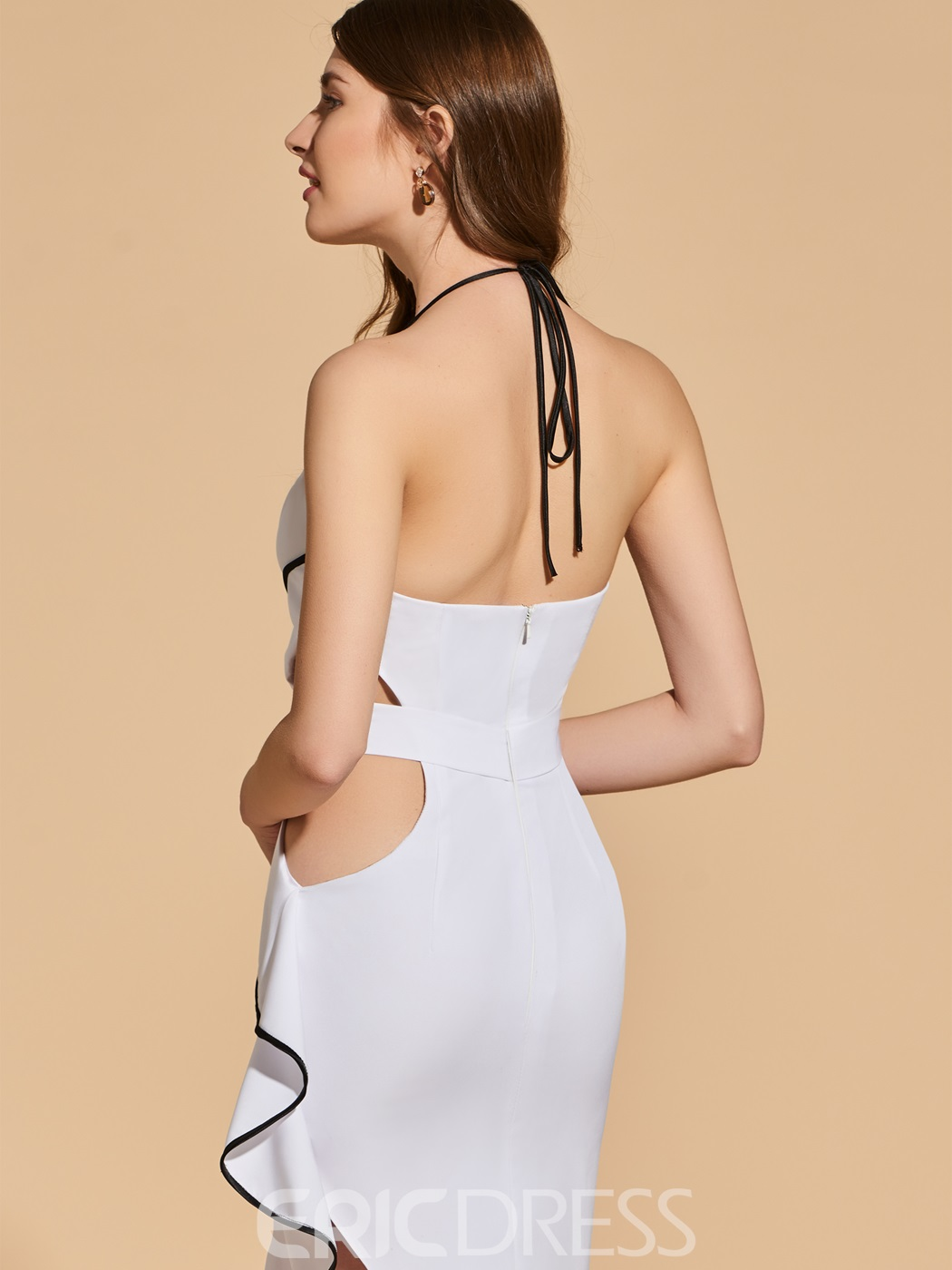 Ericdress Sheath Halter Asymmetry Backless Cocktail Dress