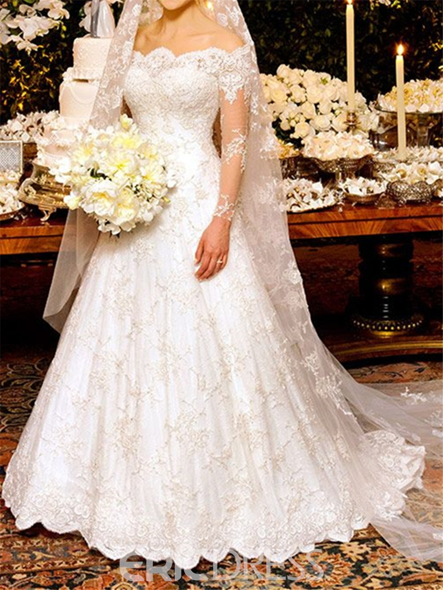 Ericdress Off The Shoulder A Line Lace Long Sleeves Wedding Dress