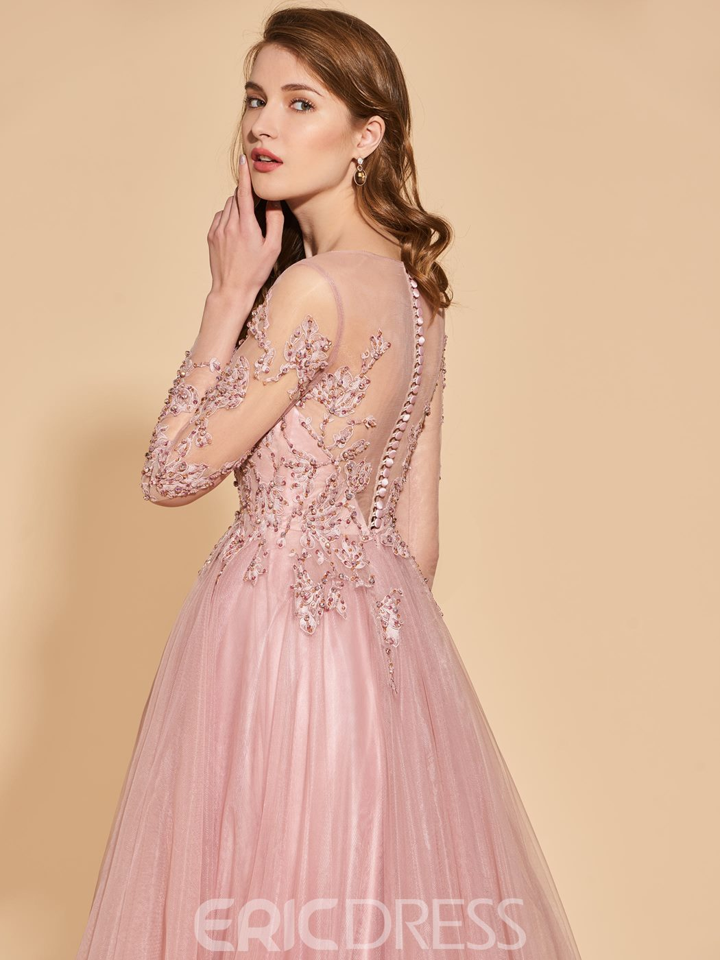 Ericdress A Line Long Sleeve Evening Dress With Beadings And Applique