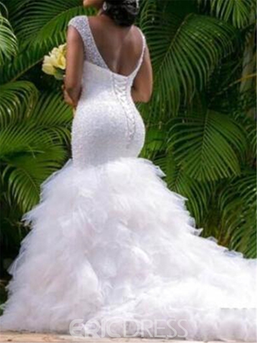 Ericdress Mermaid Backless V Neck Beaded Wedding Dress