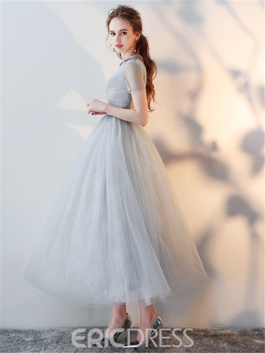 Ericdress A Line Short Sleeve Tea Lenth Lace Evening Dress 13164064 ...