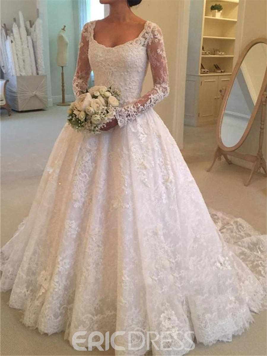 Ericdress Lace A Line Long Sleeves Wedding Dress