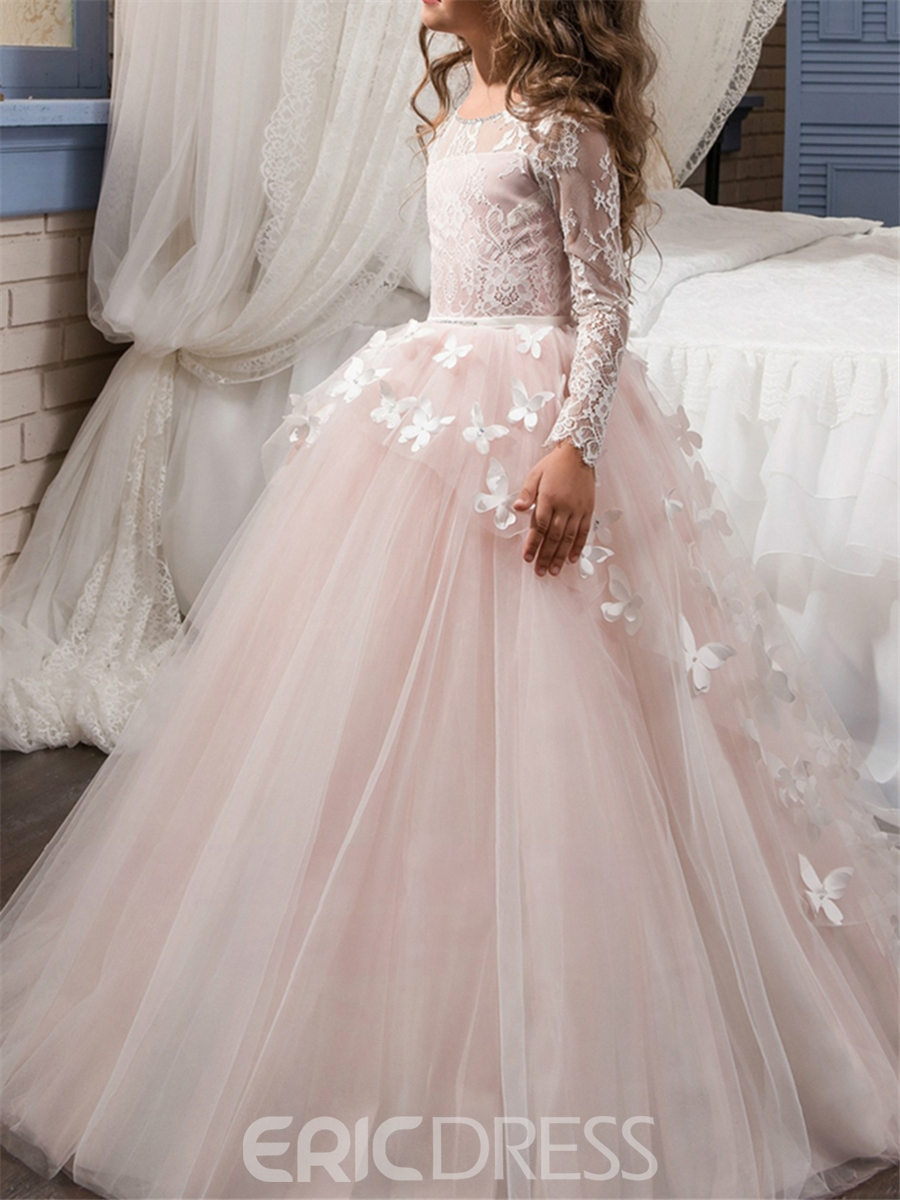 Ericdress Lace Long Sleeves Ball Gown Flower Girl Dress