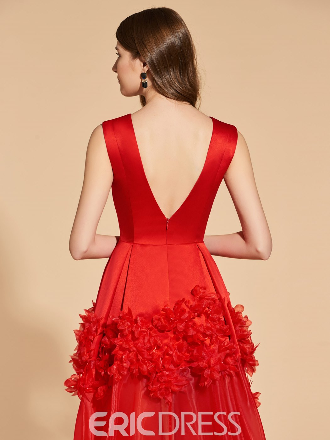 Ericdress A Line V Neck Flower Applique Red Prom Dress