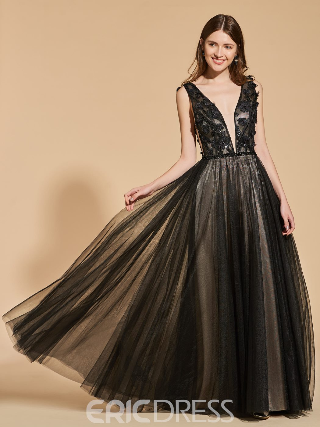 Ericdress A Line V Neck Applique Backless Black Prom Dress With Beadings