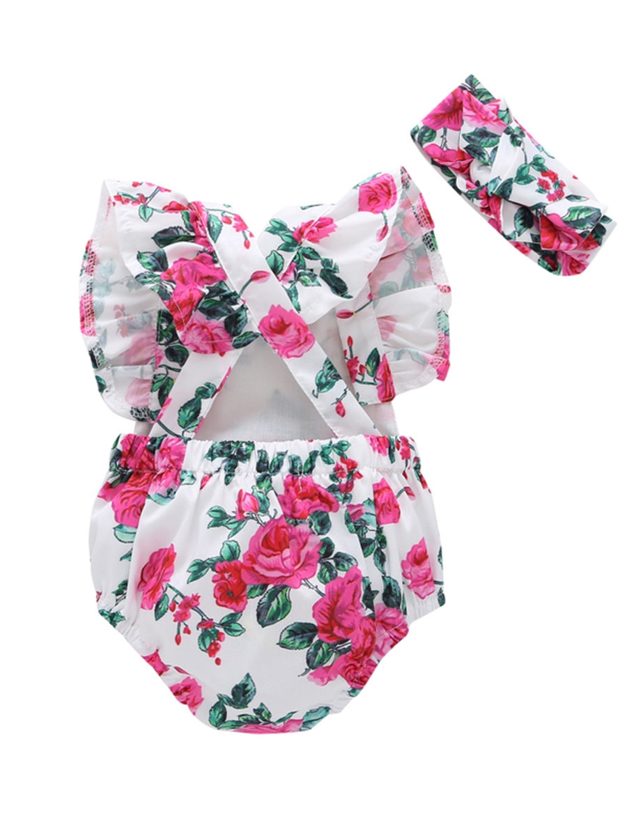 Ericdress Floral Print Ruffles Baby Girl's Romper