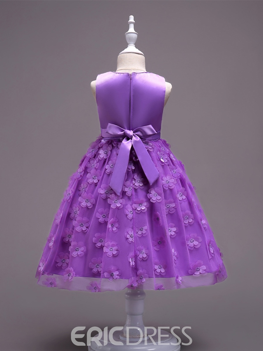 Ericdress Solid Color Appliques Patchwork Mesh Girl's Princess Dress