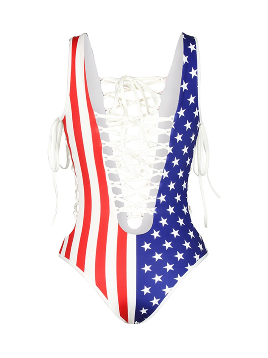 Ericdress Sexy American Flag Print Hollow Swimwear