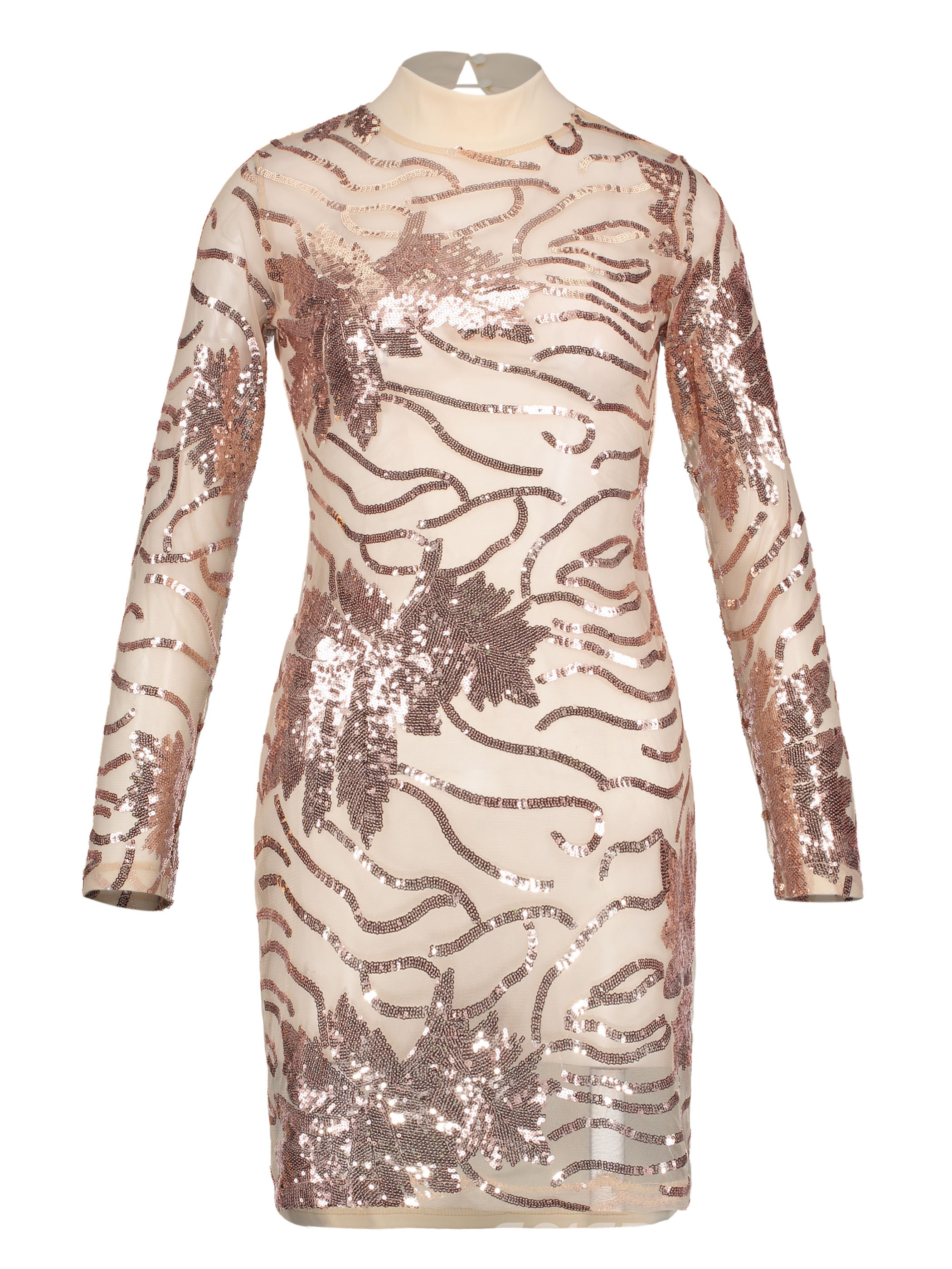Ericdress Backless See-Through Sequin Bodycon Dress