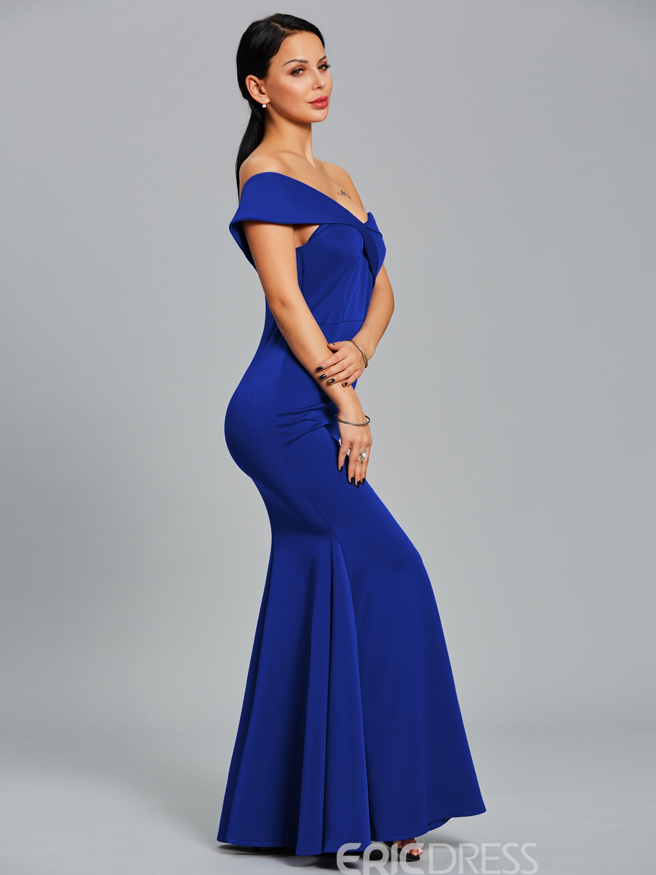Ericdress Backless Strapless Off-the-Shoulder Belt Mermaid Dress