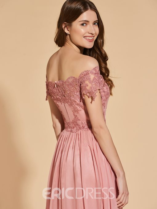 Ericdress A Line Off The Shoulder Short Sleeve Prom Dress With Applique