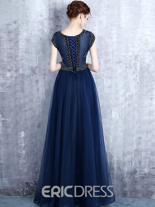 Ericdress Cap Sleeve A-Line Scoop Beading Long Evening Dress
