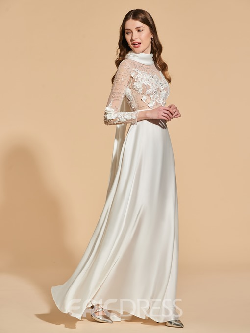 Ericdress A Line Long Sleeve High Neck Vintage Prom Dress