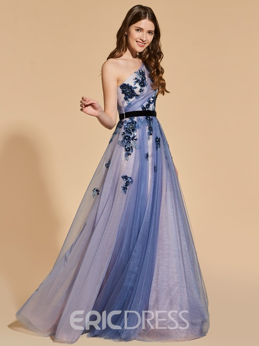 Ericdress One Sleeve Sequin Applique Long Prom Dress