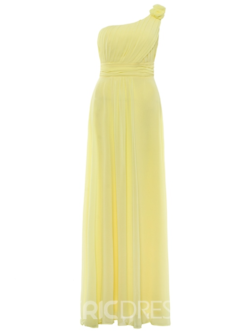 Ericdress One-Shoulder Flower Pleated Chiffon A-Line Prom Dress