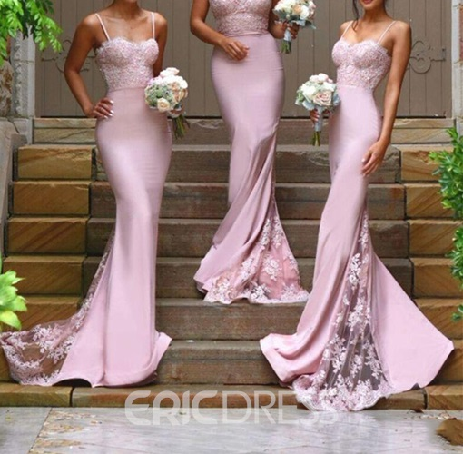 Ericdress Spaghetti Straps Lace Mermaid Bridesmaid Dress