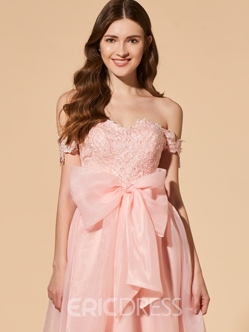 Ericdress A Line Off The Shoulder Applique Long Prom Dress With Bowknot