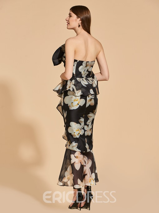 Ericdress Sheath Floral Print Mermaid Bodycon Homecoming Dress With Bowknot