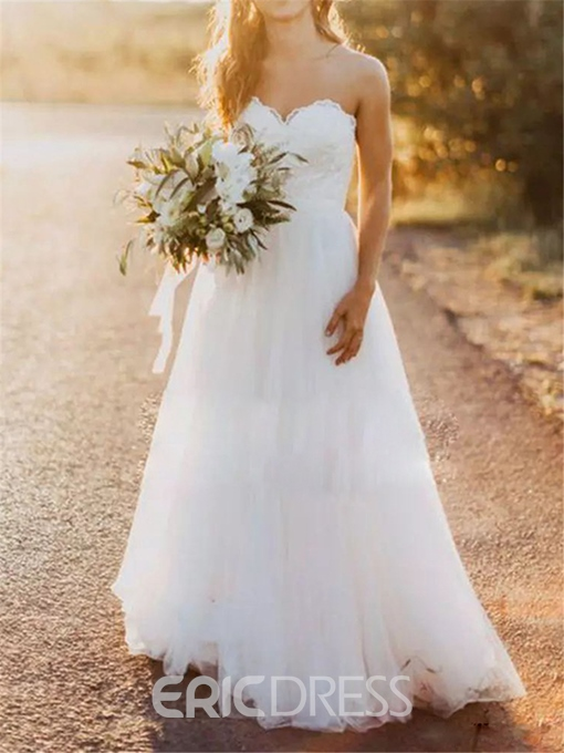 Ericdress Stylish A-Line Tulle Strapless Sweetheart Wedding Dress