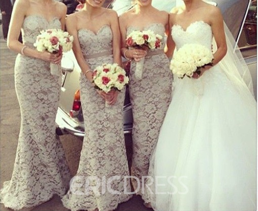 Ericdress Mermaid Sashes Lace Bridesmaid Dress