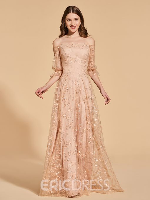 Ericdress Half Sleeve Off The Shoulder Lace Prom Dress