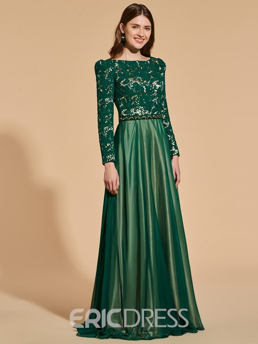 Ericdress A Line Lace Top Long Sleeve Prom Dress