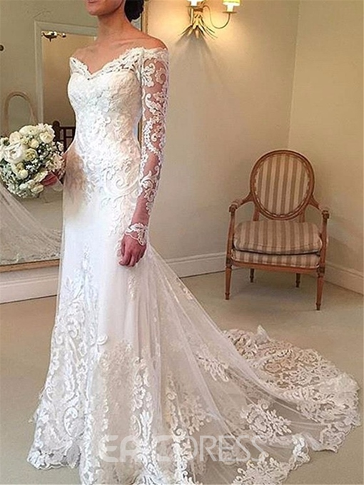 Ericdress Off The Shoulder Lace Long Sleeves Wedding Dress