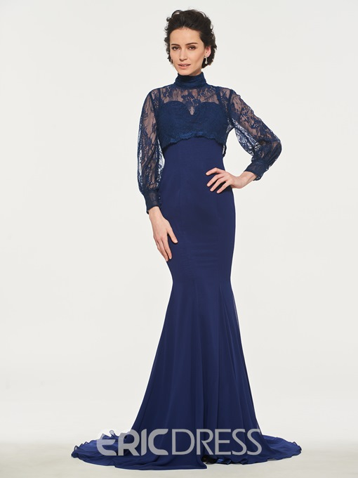 Ericdress High Neck Long Sleeves Mermaid Mother of the Bride Dress