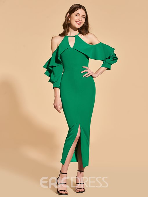 Ericdress Sheath Cold Shoulder Long Sleeve Bodycon Homecoming Dress