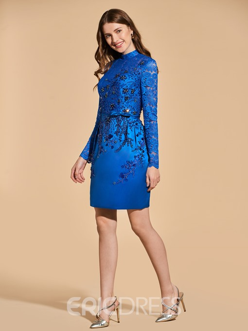 Ericdress Sheath Short Lace Long Sleeve Cocktail Dress With Beadings