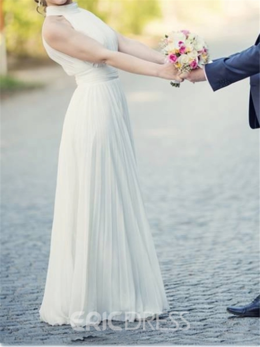 Ericdress Sheath Backless Sleeveless Halter Long Wedding Dress