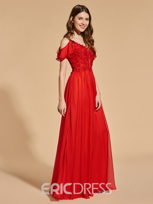 Ericdress A Line Spaghetti Straps Beaded Red Prom Dress