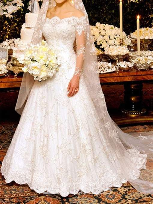 Ericdress Appliques Lace Long Sleeves Wedding Dress