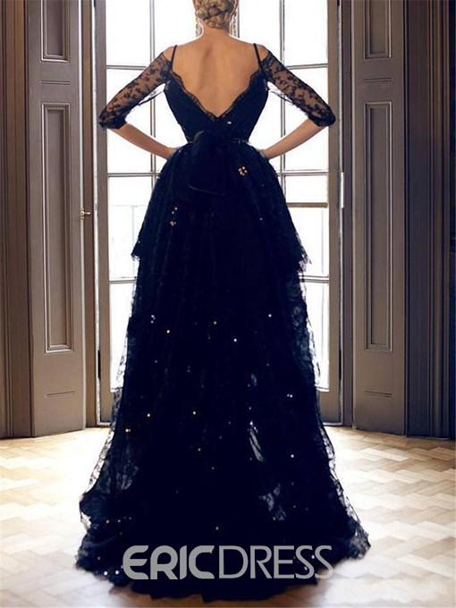Ericdress Half Sleeves High Low Black Lace Evening Dress