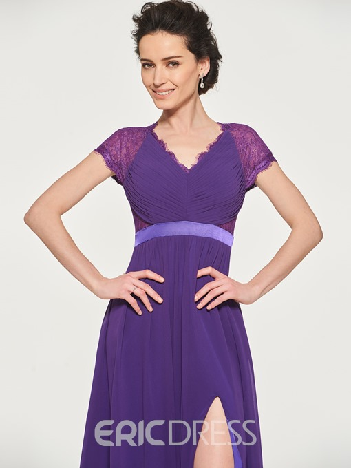 Ericdress A Line Short Sleeve Split-Front Mother Of The Bride Dress