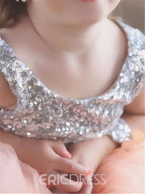 Ericdress Shiny Sequins Tulle Sleeveless V-Back Flower Girl Dress