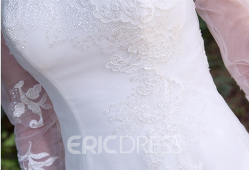 Ericdress Appliques Lace Long Sleeve Wedding Dress