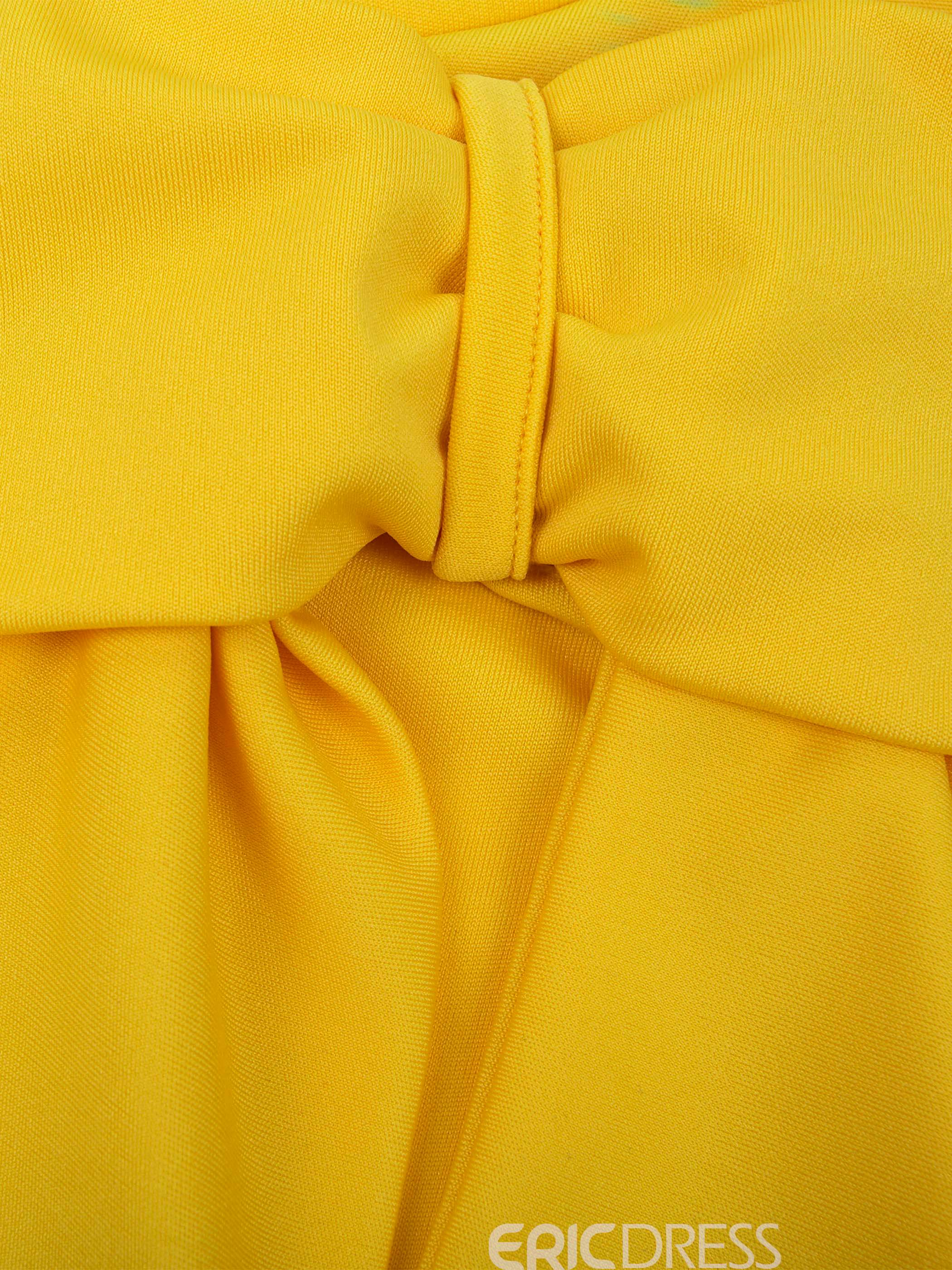 Ericdress Yellow Stand Collar Bowknot Women's Sheath Dress