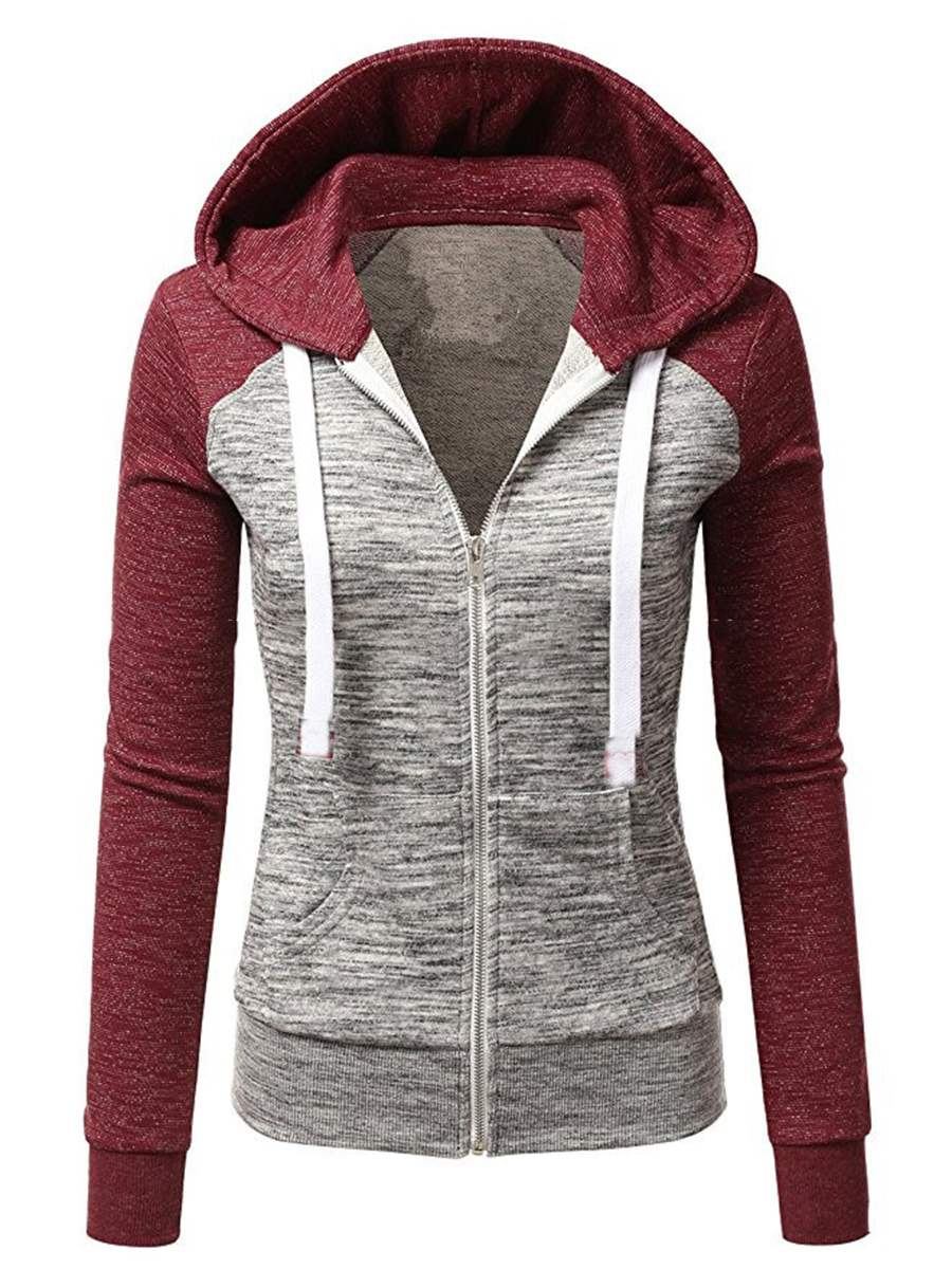 Ericdress Slim Zipper Color Block Cool Hoodie
