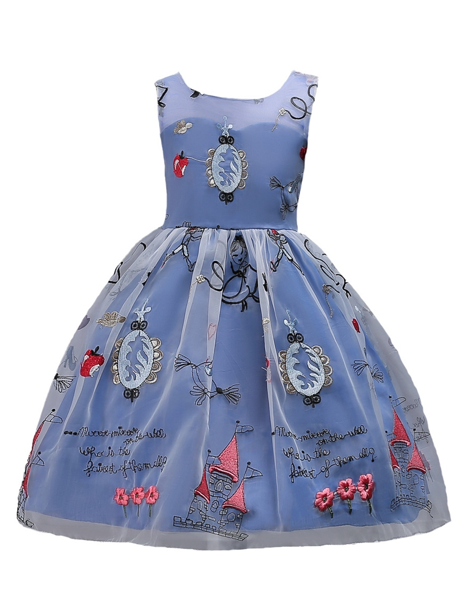 Ericdress See-Through Mesh Patchwork Embroidery Girl's Dress