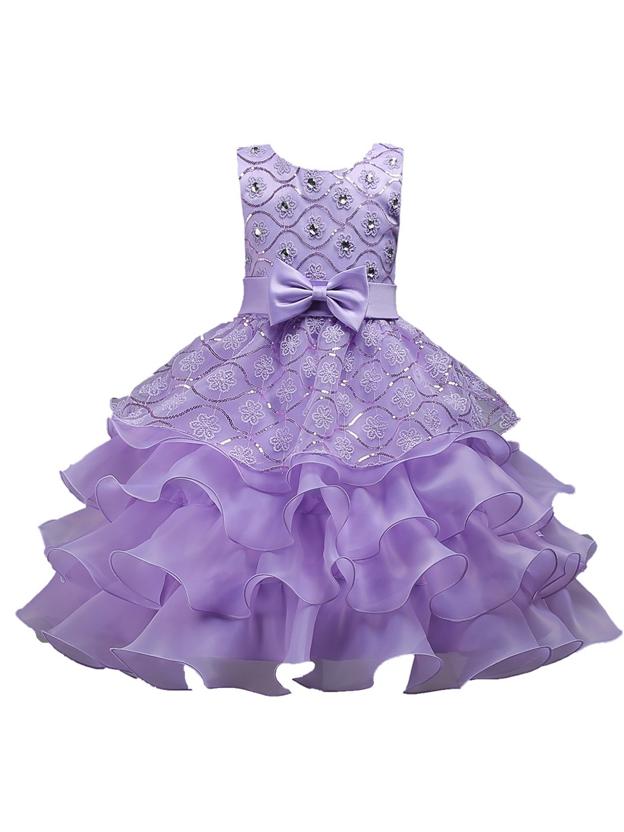 Ericdress Sequins Embroidery Girl's Layered Dress