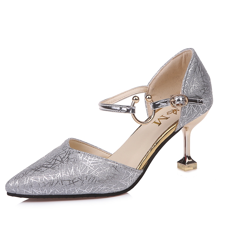 Ericdress Pointed Toe Buckle Plain Spool Heel Pumps