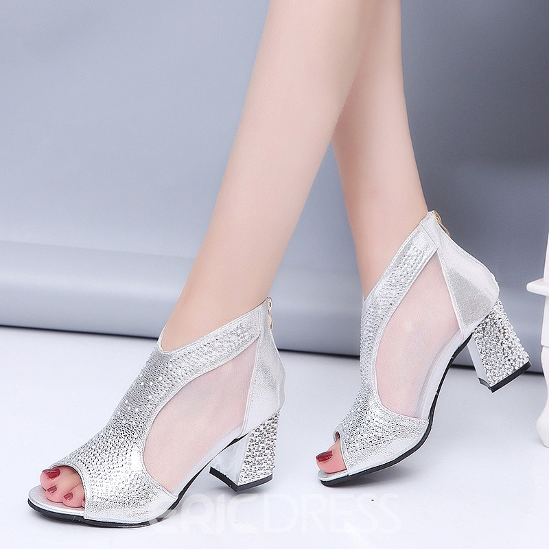 Ericdress Clear Rhinestone Patchwork Plain Chunky Heel Shoes