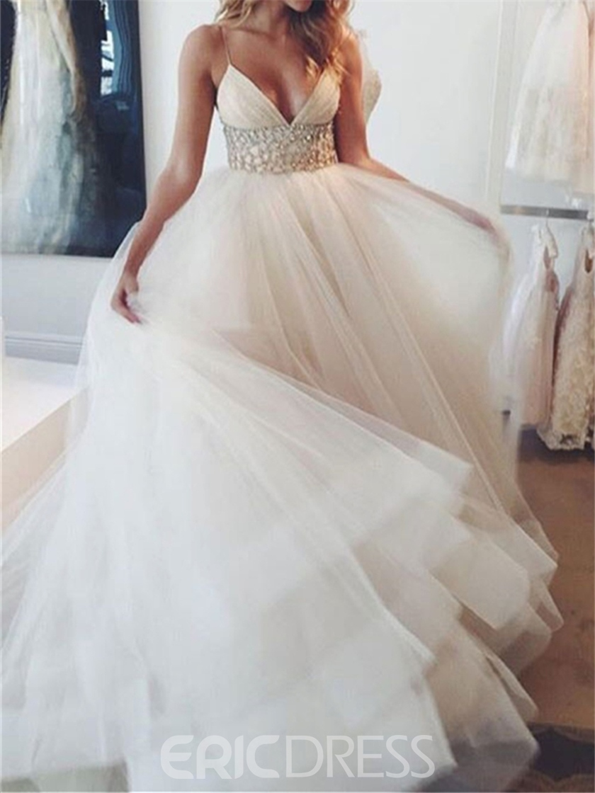 Ericdress V Neck Spaghetti Straps Beading Wedding Dress