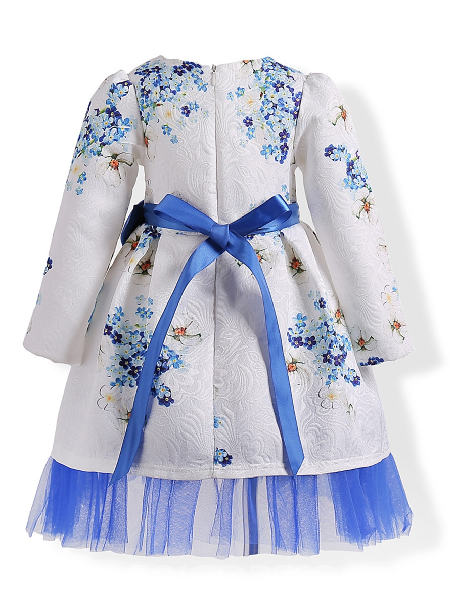 Ericdress Floral Print Mesh Patchwork Bowknot Girl's Dress