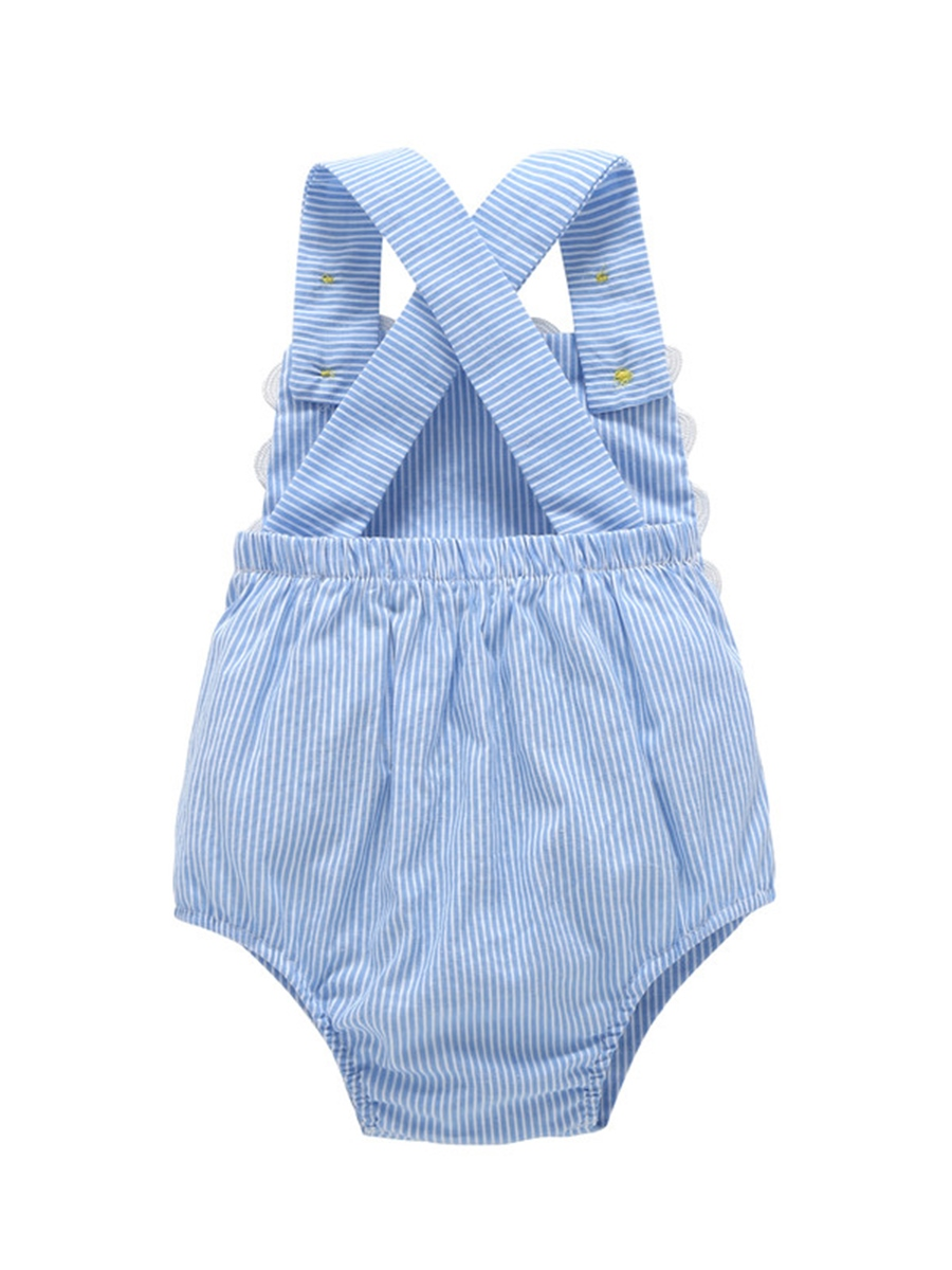 Ericdress Stripe Button Sleeveless Baby Girl's Bodysuit